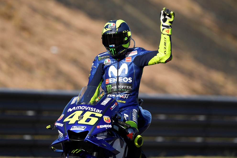 MotoGP du Japon 2018 Rossi au pied du podium