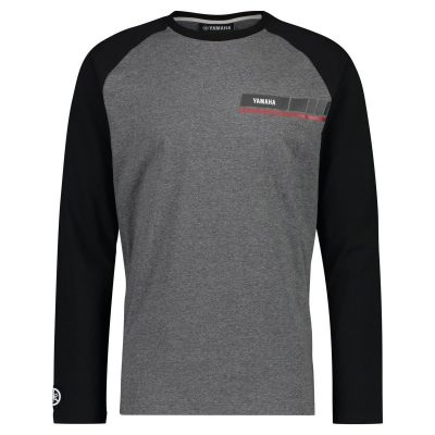 T-shirt Revs Noir gris manhces longues Yamaha